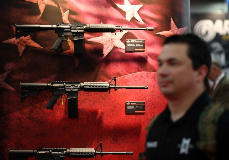 Assault rifles are displayed during the 2013 NRA Annual Meeting and Exhibits at the George R. Brown Convention Center on May 3, 2013 in Houston, Texas. (Justin Sullivan/Getty Images)