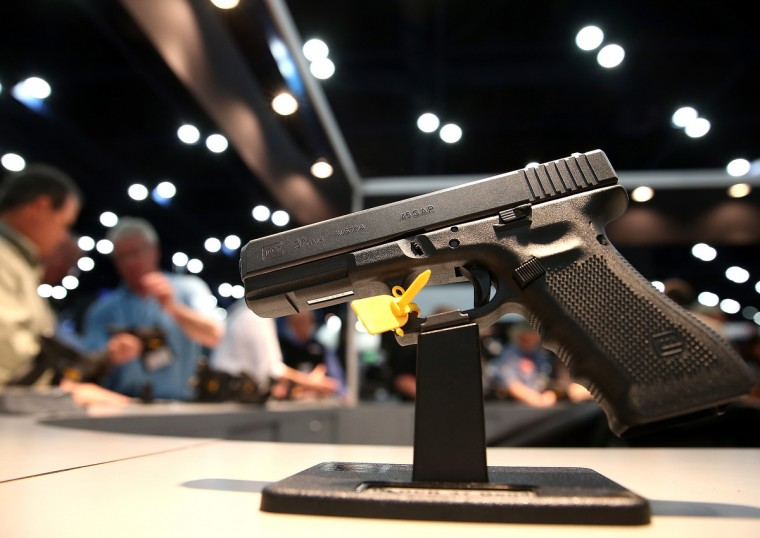 A handgun is displayed during the 2013 NRA Annual Meeting and Exhibits at the George R. Brown Convention Center on May 3, 2013 in Houston, Texas. (Justin Sullivan/Getty Images)