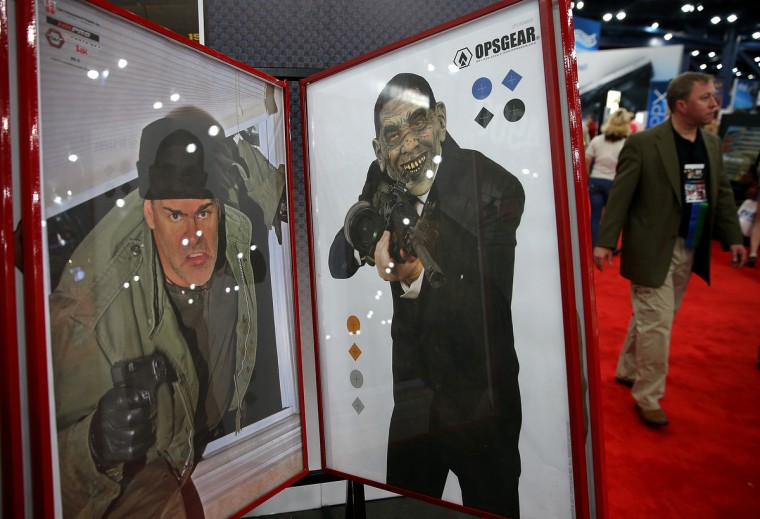 Custom targets are displayed during the 2013 NRA Annual Meeting and Exhibits at the George R. Brown Convention Center on May 3, 2013 in Houston, Texas. (Justin Sullivan/Getty Images)
