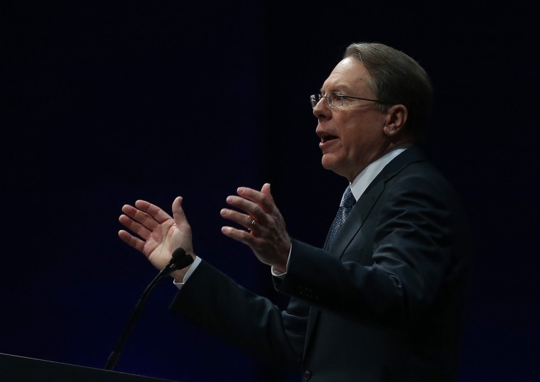 NRA executive vice president Wayne LaPierre speaks during the 2013 NRA Annual Meeting and Exhibits at the George R. Brown Convention Center on May 3, 2013 in Houston, Texas. (Justin Sullivan/Getty Images)