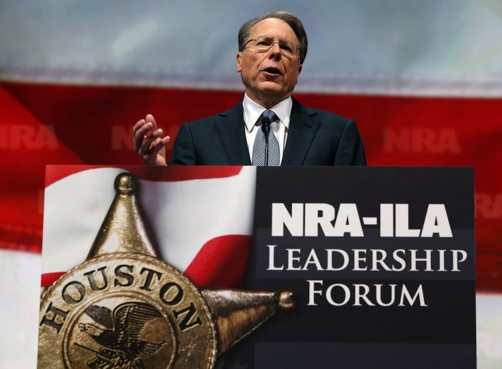 NRA executive vice president and CEO Wayne LaPierre speaks during the 2013 NRA Annual Meeting and Exhibits at the George R. Brown Convention Center on May 3, 2013 in Houston, Texas. (Justin Sullivan/Getty Images)
