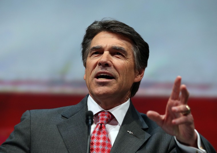 Texas Gov. Rick Perry speaks during the 2013 NRA Annual Meeting and Exhibits at the George R. Brown Convention Center on May 3, 2013 in Houston, Texas. (Justin Sullivan/Getty Images)