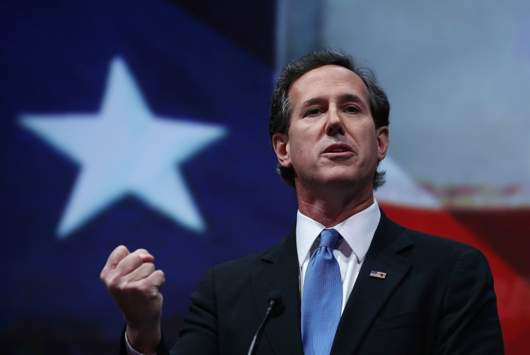 Former U.S. Sen. Rick Santorum (R-PA) speaks during the 2013 NRA Annual Meeting and Exhibits at the George R. Brown Convention Center on May 3, 2013 in Houston, Texas. (Justin Sullivan/Getty Images)