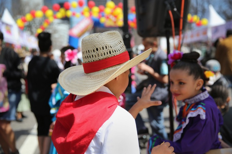 Children dressed in traditional Mexican attire attend a Cinco de Mayo festival in Denver, Colorado. (John Moore/Getty Images)