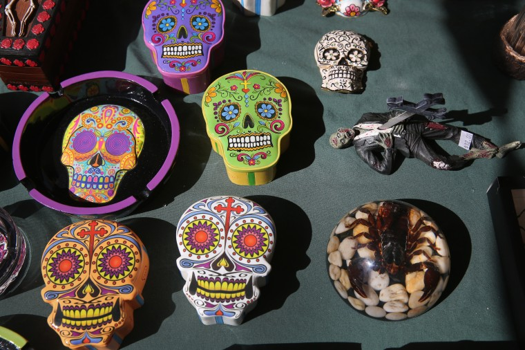 Handcrafted items await sale at a vendor's booth at a Cinco de Mayo festival celebrating Mexican culture in Denver, Colorado. (John Moore/Getty Images)