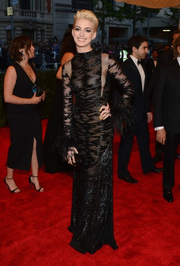 "Anne Hathaway attends the Costume Institute Gala for the ""PUNK: Chaos to Couture"" exhibition at the Metropolitan Museum of Art on May 6, 2013 in New York City. (Larry Busacca/Getty Images)"