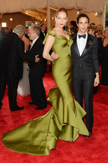 "Uma Thurman and designer Zac Posen attend the Costume Institute Gala for the ""PUNK: Chaos to Couture"" exhibition at the Metropolitan Museum of Art on May 6, 2013 in New York City. (Dimitrios Kambouris/Getty Images)"