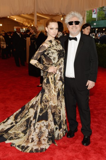 "Actress Amanda Seyfried and director Pedro Almodovar attend the Costume Institute Gala for the ""PUNK: Chaos to Couture"" exhibition at the Metropolitan Museum of Art on May 6, 2013 in New York City. (Dimitrios Kambouris/Getty Images)"