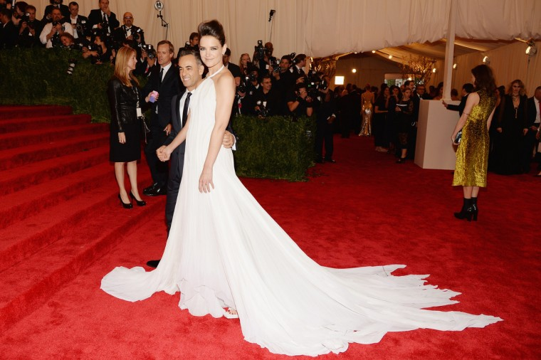 "Francisco Costa and Katie Holmes (R) attend the Costume Institute Gala for the ""PUNK: Chaos to Couture"" exhibition at the Metropolitan Museum of Art on May 6, 2013 in New York City. (Dimitrios Kambouris/Getty Images)"