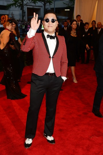 "Psy attends the Costume Institute Gala for the ""PUNK: Chaos to Couture"" exhibition at the Metropolitan Museum of Art on May 6, 2013 in New York City. (Larry Busacca/Getty Images)"