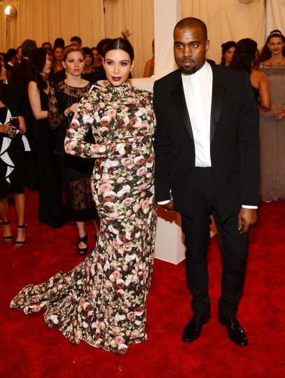 "Kim Kardashian and Kanye West attend the Costume Institute Gala for the ""PUNK: Chaos to Couture"" exhibition at the Metropolitan Museum of Art on May 6, 2013 in New York City. (Larry Busacca/Getty Images)"
