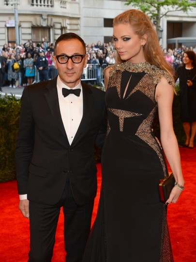 "Designer Gilles Mendel and Taylor Swift attend the Costume Institute Gala for the ""PUNK: Chaos to Couture"" exhibition at the Metropolitan Museum of Art on May 6, 2013 in New York City. (Larry Busacca/Getty Images)"