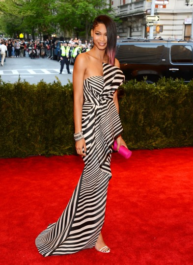 "Model Chanel Iman attends the Costume Institute Gala for the ""PUNK: Chaos to Couture"" exhibition at the Metropolitan Museum of Art on May 6, 2013 in New York City. (Larry Busacca/Getty Images)"