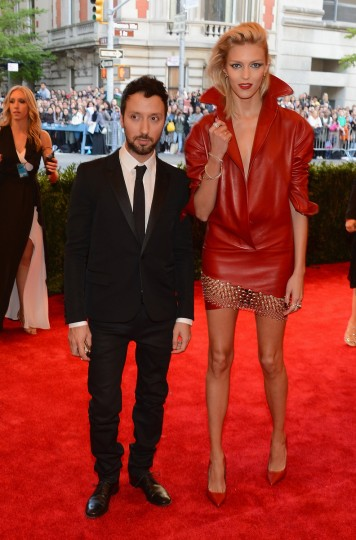 "Designer Anthony Vaccarello (L) and model Anja Rubik attend the Costume Institute Gala for the ""PUNK: Chaos to Couture"" exhibition at the Metropolitan Museum of Art on May 6, 2013 in New York City. (Larry Busacca/Getty Images)"