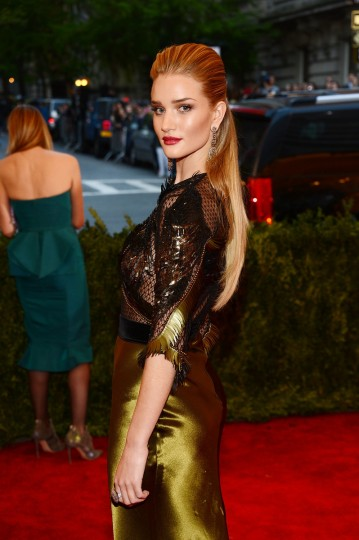 "Model Rosie Huntington-Whiteley attends the Costume Institute Gala for the ""PUNK: Chaos to Couture"" exhibition at the Metropolitan Museum of Art on May 6, 2013 in New York City. (Larry Busacca/Getty Images)"