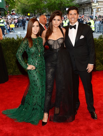 "Monique Lhuiller, Nina Dobrev and Tom Bugbee attend the Costume Institute Gala for the ""PUNK: Chaos to Couture"" exhibition at the Metropolitan Museum of Art on May 6, 2013 in New York City. (Larry Busacca/Getty Images)"