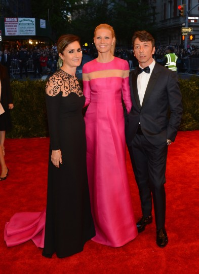 "Creative directors of Valentino Maria Grazia Chiuri and Pierpaolo Piccioli with Gwyneth Paltrow (C) attend the Costume Institute Gala for the ""PUNK: Chaos to Couture"" exhibition at the Metropolitan Museum of Art on May 6, 2013 in New York City. (Larry Busacca/Getty Images)"