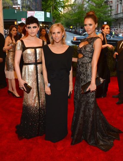 "Ginnifer Goodwin, Tory Burch and Jessica Alba attend the Costume Institute Gala for the ""PUNK: Chaos to Couture"" exhibition at the Metropolitan Museum of Art on May 6, 2013 in New York City. (Larry Busacca/Getty Images)"