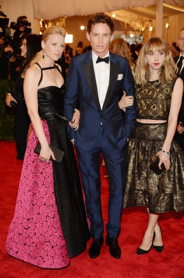 "Mamie Gummer, Eddie Redmayne and Zoe Kazen attend the Costume Institute Gala for the ""PUNK: Chaos to Couture"" exhibition at the Metropolitan Museum of Art on May 6, 2013 in New York City. (Dimitrios Kambouris/Getty Images)"