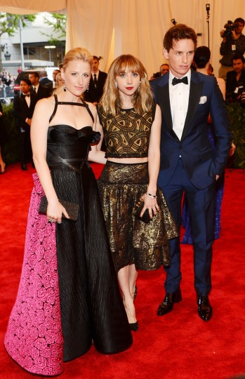 "Mamie Gummer, Zoe Kazan, and Eddie Redmayne attend the Costume Institute Gala for the ""PUNK: Chaos to Couture"" exhibition at the Metropolitan Museum of Art on May 6, 2013 in New York City. (Larry Busacca/Getty Images)"