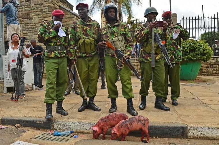 Riot police stand by the gates of parliament during a demonstration against members of parliament who have demanded higher wages in Nairobi. Kenyan demonstrators released two dozen piglets at the gates of parliament and poured blood on the pavement today to protest demands by newly elected lawmakers for a wage hike. (Carl De Souza/Getty Images)