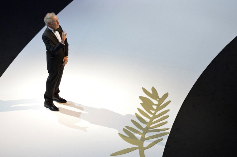 US director and President of the Feature Film Jury Steven Spielberg waves on stage during the opening ceremony of the 66th edition of the Cannes Film Festival in Cannes. Cannes, one of the world's top film festivals, opens on May 15 and will climax on May 26 with awards selected by a jury headed this year by Hollywood legend Steven Spielberg. (Antonin Thuillier/Getty Images)