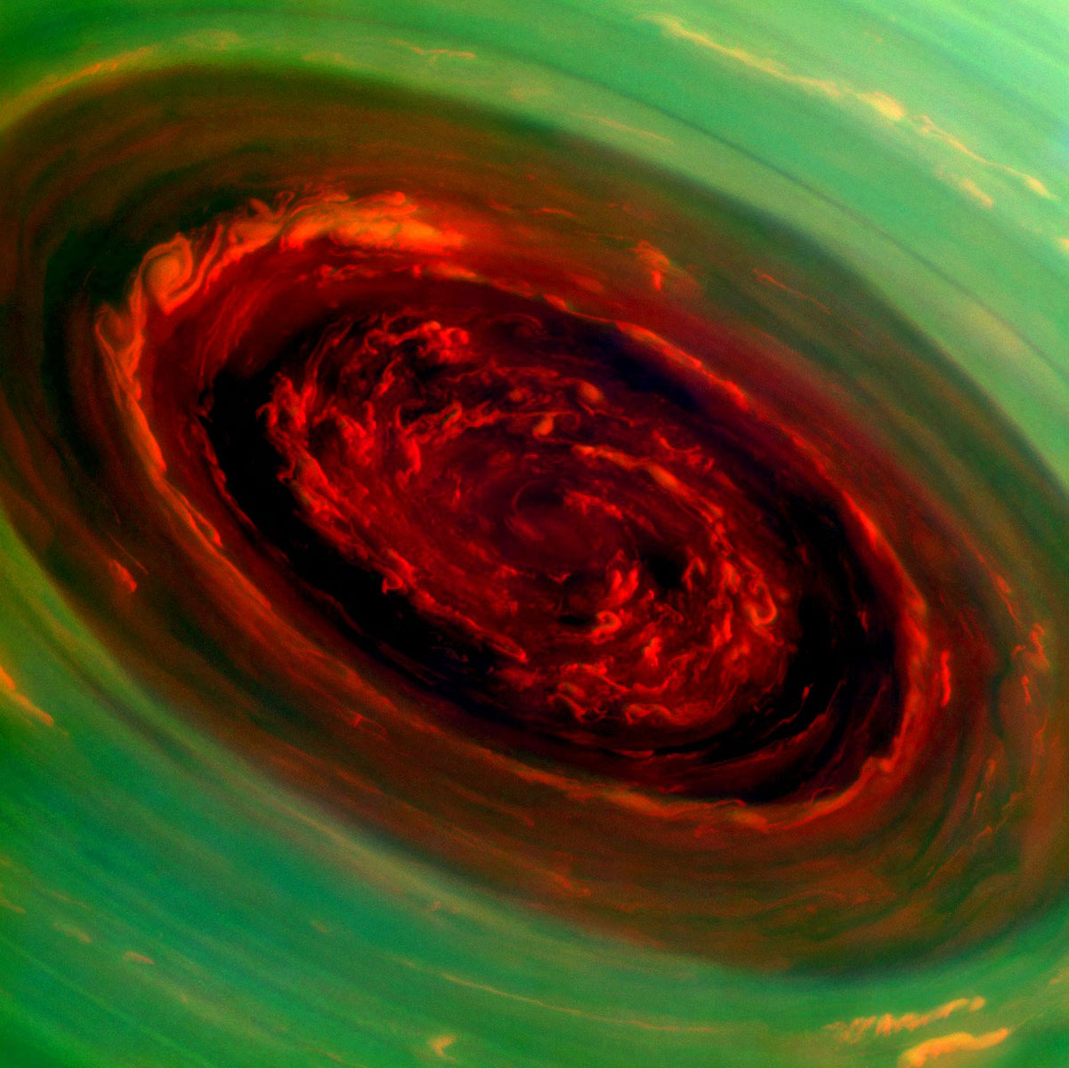 Massive hurricane circles around Saturn's north pole