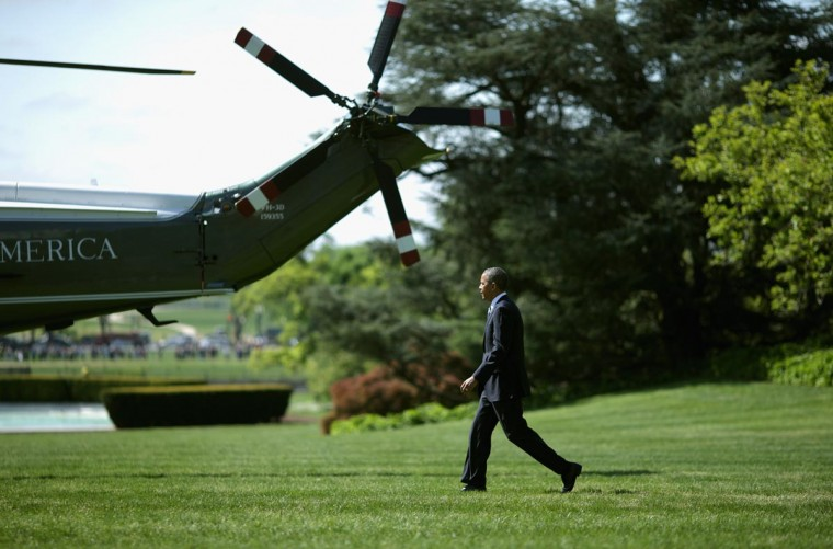 U.S. President Barack Obama walks across the South Lawn as he departs the White House May 2, 2013 in Washington, DC. Obama is taking a three-day trip to Mexico and Costa Rica. (Chip Somodevilla/Getty Images)