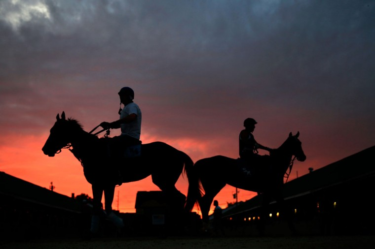 Horses walk in the stable as the sun rises during morning workouts for the 2013 Kentucky Derby at Churchill Downs in Louisville, Kentucky. (Jamie Squire/Getty Images)