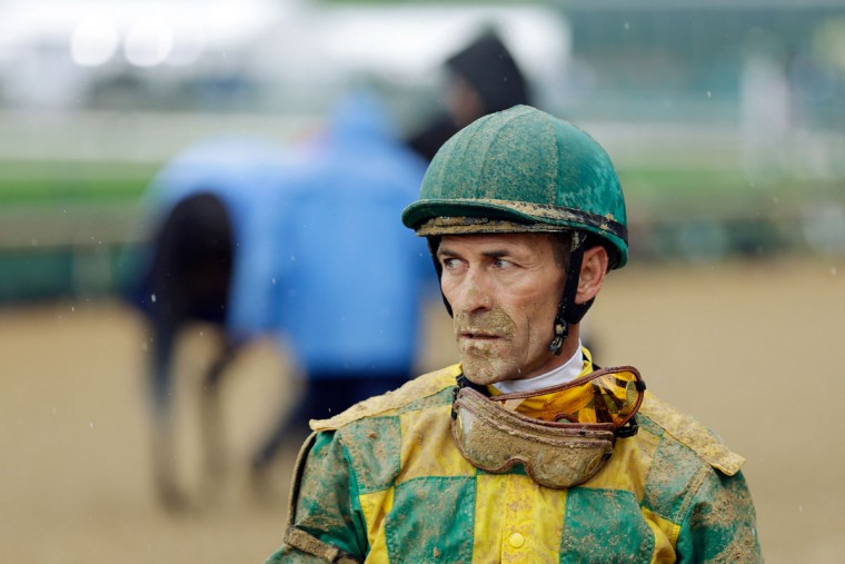 Jockey Gary Stevens looks on after a race prior to the 139th running of the Kentucky Derby at Churchill Downs on May 4, 2013 in Louisville, Kentucky. (Rob Carr/Getty Images)