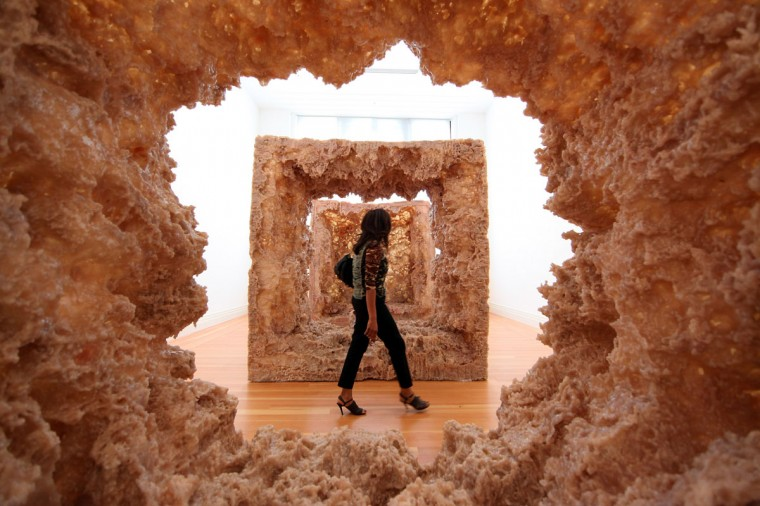 "A visitor passes the sculpture ""1st Body"" (2013) prior to the opening of the ""Kapoor in Berlin"" exhibition at the Martin Gropius Bau in Berlin, Germany. The 1991 Turner Prize winner, who is considered one of the most influential sculptors of his generation, has created around half the works specifically for the exhibition in Berlin, which runs at the Martin Gropius Bau from May 18 to November 24. (Adam Berry/Getty Images)"