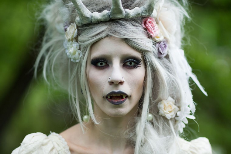 A woman in vampire make-up attends the traditional park picnic on the first day of the annual Wave-Gotik Treffen, or Wave and Goth Festival, on May 17, 2013 in Leipzig, Germany. (Marco Prosch/Getty Images)