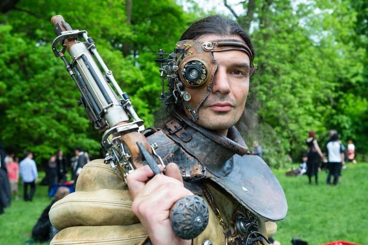 A man dressed as a steam-punk attends the traditional park picnic on the first day of the annual Wave-Gotik Treffen, or Wave and Goth Festival, on May 17, 2013 in Leipzig, Germany. (Marco Prosch/Getty Images)