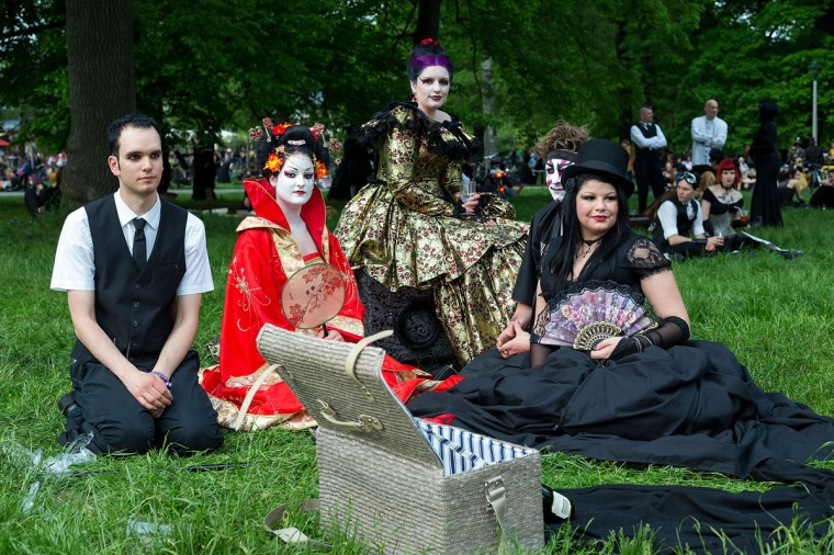 Participants in costumes attend the traditional park picnic on the first day of the annual Wave-Gotik Treffen, or Wave and Goth Festival, on May 17, 2013 in Leipzig, Germany. (Marco Prosch/Getty Images)