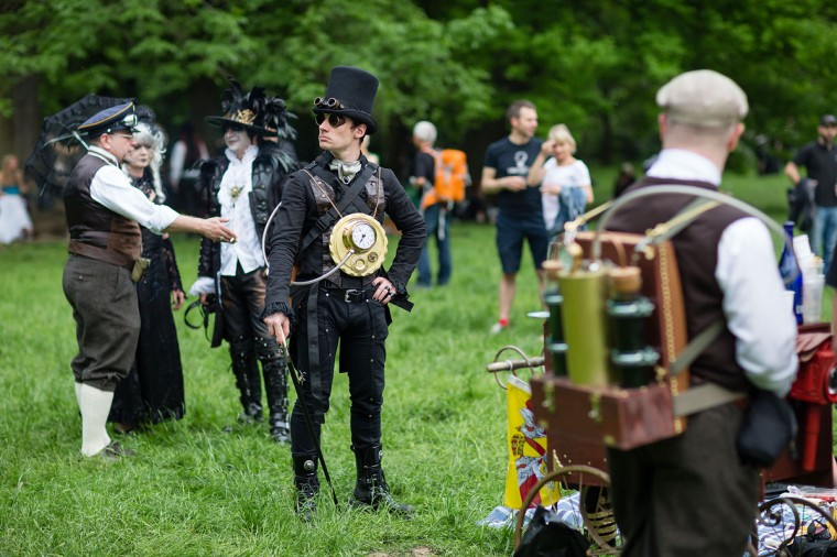 A man dressed in a steam-punk costume attends the traditional park picnic on the first day of the annual Wave-Gotik Treffen, or Wave and Goth Festival, on May 17, 2013 in Leipzig, Germany. (Marco Prosch/Getty Images)