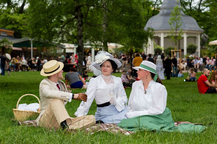 Participants in Victorian clothing sit on the lawn and chat during the traditional park picnic on the first day of the annual Wave-Gotik Treffen, or Wave and Goth Festival, on May 17, 2013 in Leipzig, Germany. (Marco Prosch/Getty Images)