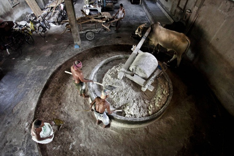 Workers use a cow to grind flour in Srandakan village, Bantul on May 22, 2013 in Yogyakarta, Indonesia. Yasir Feri Ismatrada took on the family business of mie lethek production founded by his late grandfather. A one-ton stone cylinder is rotated by cows in order to grind the flour, a technique rarely seen today. Yasir puts great importance on the fair treatment of his 40 employees with management profits capped at 10%, prioritizing the interests of the staff. Mie lethek are sold for Rp 8,000 or US$80 cents per kilogram. (Ulet Ifansasti/Getty Images)