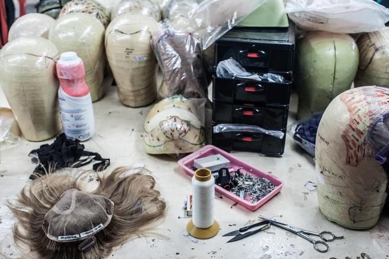 More tools to make wig foundations are seen on May 21, 2013 in Bangli, Bali, Indonesia at Sari Rambut. (Putu Sayoga/Getty Images)