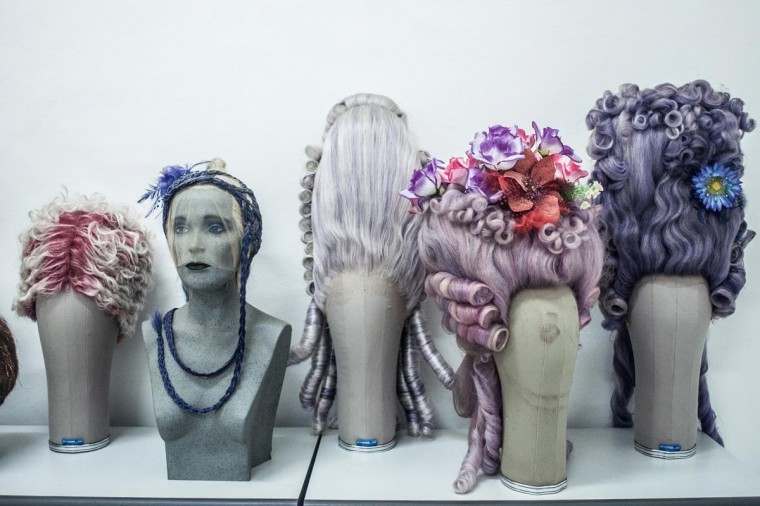Sari Rambut's wigs on display at their office on May 21, 2013 in Bangli, Bali, Indonesia at Sari Rambut. (Putu Sayoga/Getty Images)