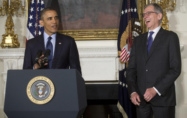 U.S. President Barack Obama announces venture capitalist Tom Wheeler (R) as his nominee to head the Federal Communications Commission (FCC), in the East Room of the White House in Washington, DC, on May 1, 2013. (Saul Loeb/AFP/Getty Images)