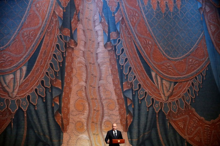 Russian President Vladimir Putin delivers a speech during the Grand gala dedicated to the opening of the new stage Mariinsky II theatre in St. Petersburg, on May 2, 2013. (Anatoly Maltsev/AFP/Getty Images)