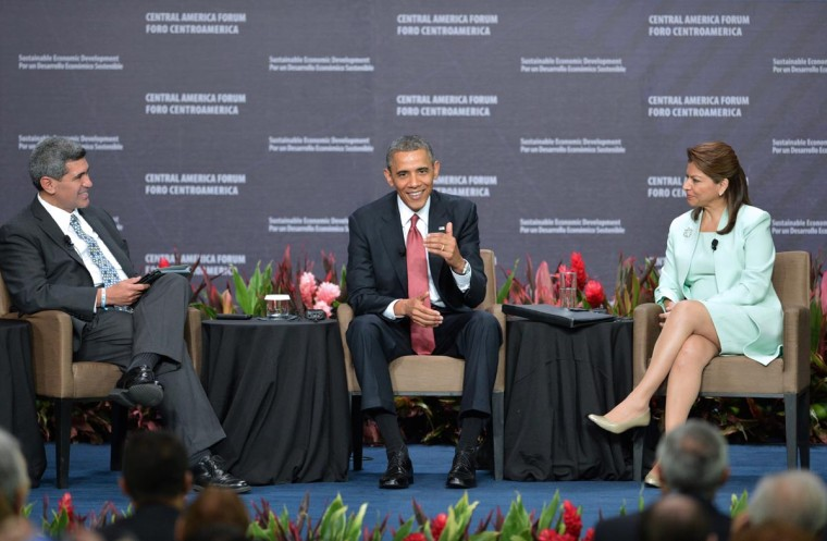 U.S. President Barack Obama (C) speaks as Costa Rica's President Laura Chinchilla (R) and INCAE University President Arturo Condo listen, during the Inclusive Economic Growth and Development forum at the Old Customs House in San Jose on May 4, 2013. Obama turned the spotlight on economic ties with Latin America on Saturday as he wrapped up a three-day trip to a region roiled by drug violence. (Rodrigo Arangua/AFP/Getty Images)