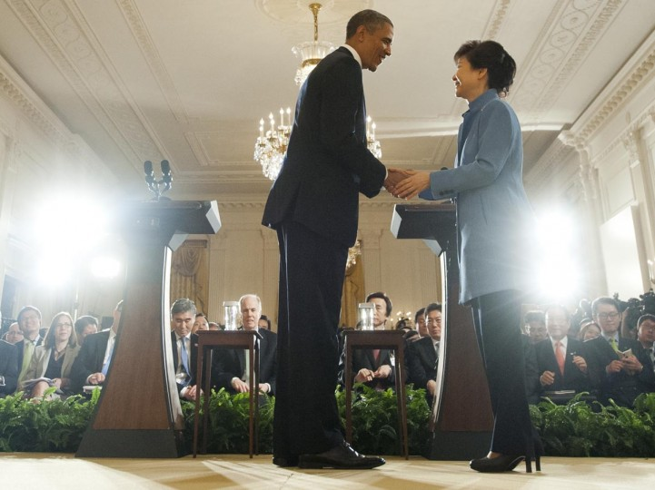 U.S. President Barack Obama and South Korean President Park Geun-hye shake hands following a joint press conference in the East Room of the White House in Washington, DC, on May 7, 2013. (Saul Loeb/AFP/Getty Images)