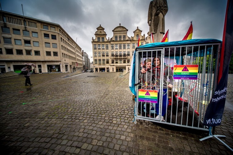 """Presenter of Canada's National Gay and Lesbian television OUTTV Marlene van Oortmarssen and spokesperson of the """"Wel Jong Niet Hetero's"""" (Flemish LBGB movement) Michiel Vanackere pose on May 16, 2013 as they spend 48 hours in a cage to focus the public's attention on the International Day Against Homophobia at the Kunstberg / Mont des Arts in Brussels. (Belga - Siska Gremmelprez/AFP/Getty Images ORG XMIT: -"""