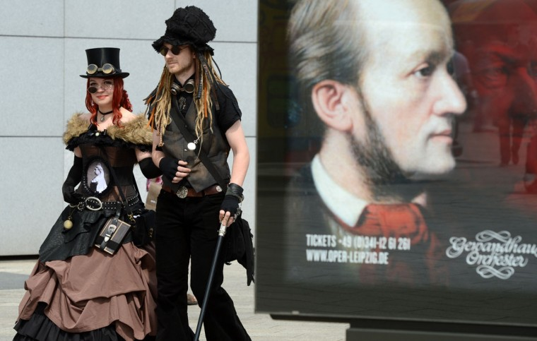 Vsitors of a Wave-Gothic meeting arrive on May 17, 2013 in Leipzig, eastern Germany. (Hendrik Schmidt/AFP/Getty Images)