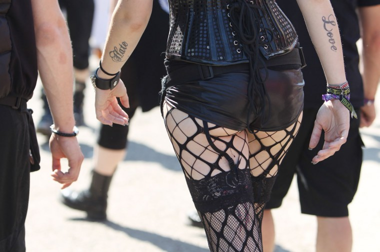 A participant walks during the 22nd Wave Gothic Festival in Leipzig, Germany, on May 19, 2013. (Sebastian Willnow/AFP/Getty Images)