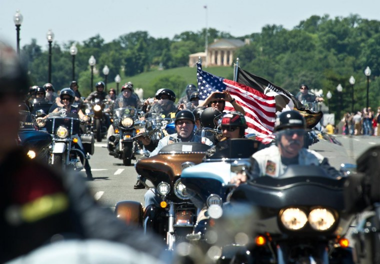 Members of the U.S. military veterans' Rolling Thunder bikers group parade in Washington on May 26, 2013 as the country marks Memorial Day. (Nicholas Kamm/AFP/Getty Images)