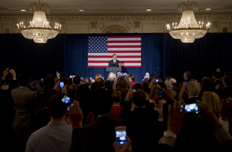 U.S. President Barack Obama speaks during a Democratic fundraiser in Chicago, Illinois, May 29, 2013. (Saul Loeb/AFP/Getty Images)