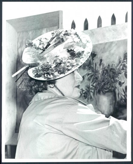 May 19 1959: Mrs. Catherine Lessner in her palette hat. This is the actual palette she uses for her paintings. (Ralph Robinson/Baltimore Sun)