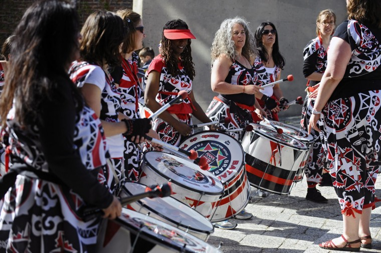 Members of the all-female Batala drum band perform before the start of the 15th annual Kinetic Sculpture Race. (Kenneth K. Lam/Baltimore Sun Photo)